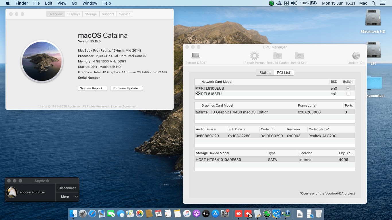 Success Hackintosh macOS Catalina 10.15.5 Build 19F96 in HP Pavilion 14-V039TX